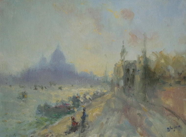 Venice Sunset Original oil Painting on Canvas, Handmade art, tonalism, One of a Kind