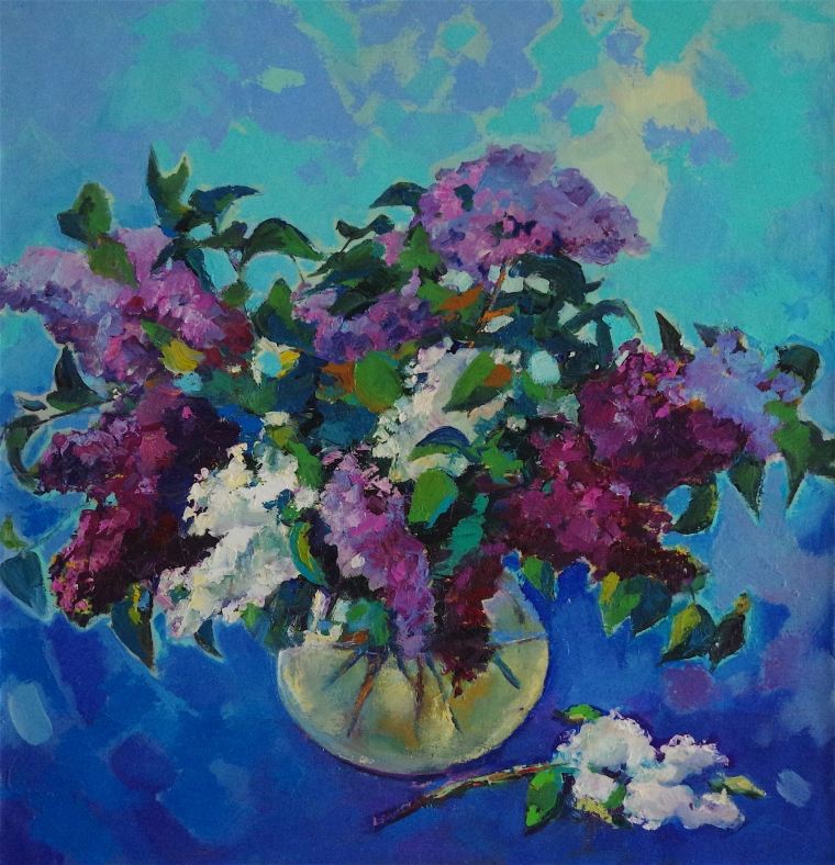 Vase Lilacs Flowers oil Painting, handmade art, One of a Kind