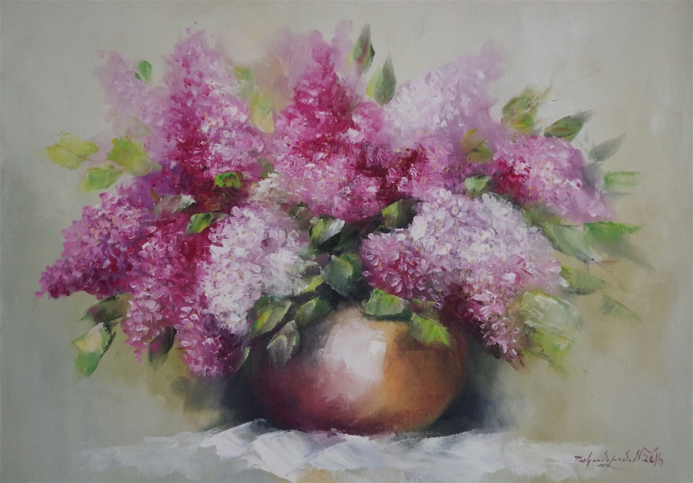 Vase of Lilacs, Original oil painting, Handmade art, One of a Kind