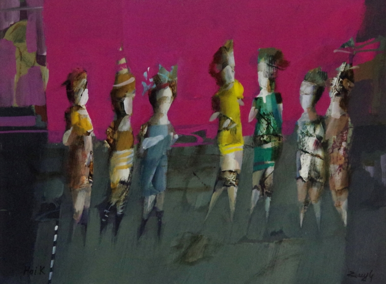 Show Girls, Abstract art, Figurative oil Painting, Contemporary, Handmade, One of a kind