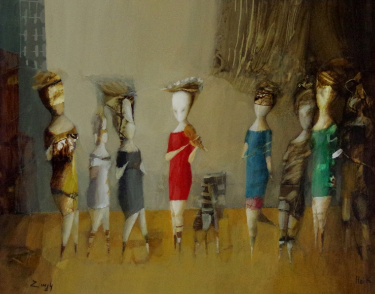 Fitting Room, Abstract art, Figurative oil Painting, Contemporary, Handmade, One of a kind