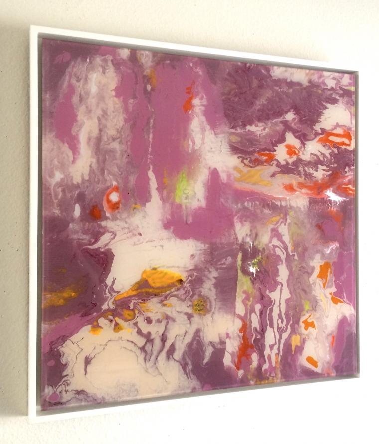 Abstract art, Original painting on Plexiglass, Handmade Contemporary art, Framed, One of a Kind