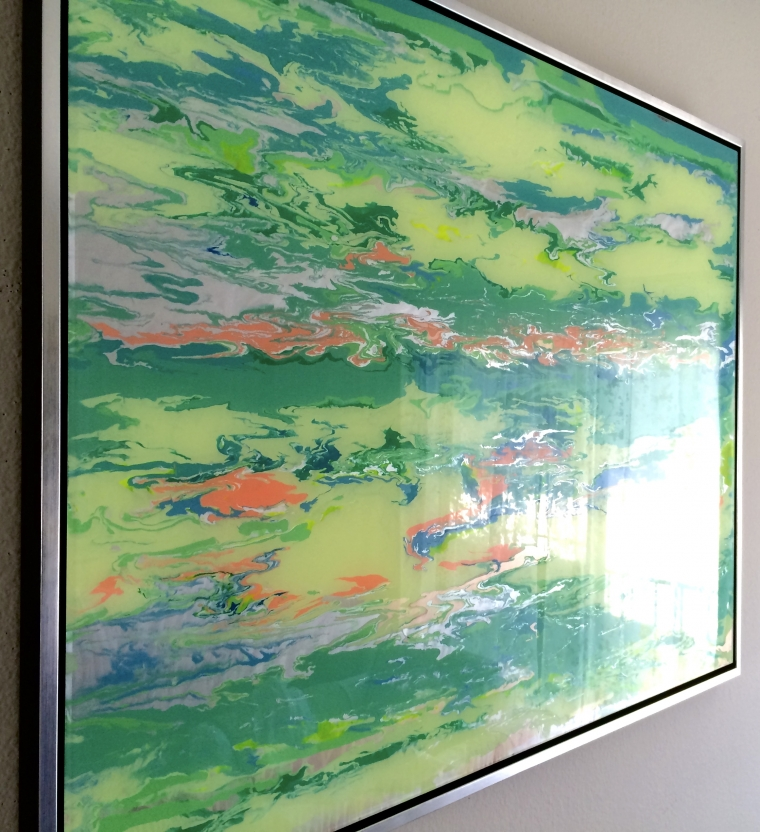 Abstract art, Original painting on Plexiglass, Handmade Contemporary art, Large Size, Framed, One of a Kind