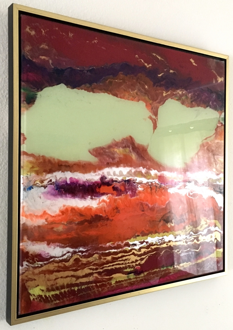 Abstract Space, Original painting on Plexiglass, Handmade Contemporary art, Framed, One of a Kind