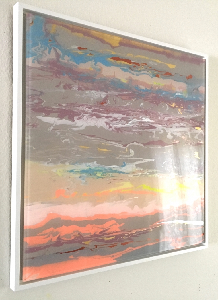 Abstract Shape, Original painting on Plexiglass, Handmade Contemporary art, Framed, One of a Kind