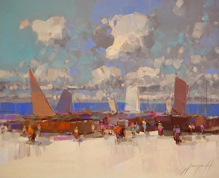 Harbor, Seascape Original oil Painting, Handmade art, One of a Kind, Signed