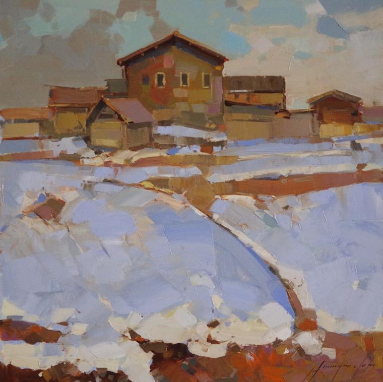 Village Way, Landscape Original oil Painting, Handmade art, One of a Kind, Signed