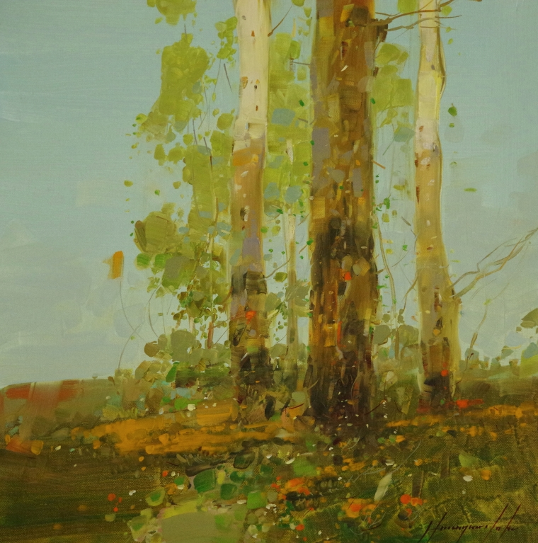 Birches, Landscape Original oil Painting, Handmade art, One of a Kind, Signed