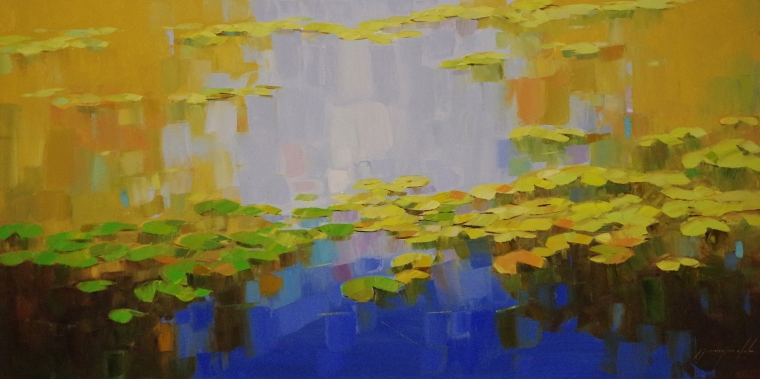 Waterlilies, Large oil Painting, Original Handmade art, One of a Kind, Signed