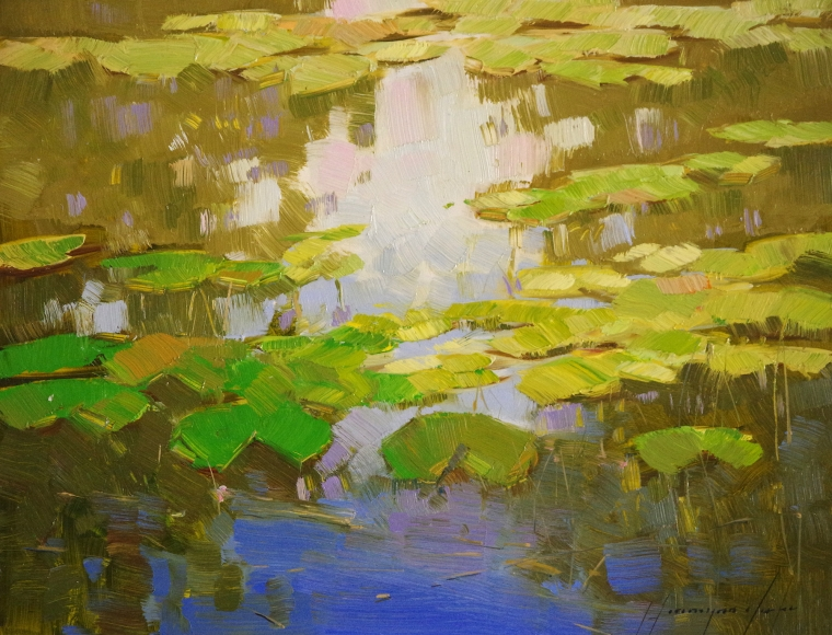 Waterlilies, Original oil Painting, Handmade art, One of a Kind, Signed