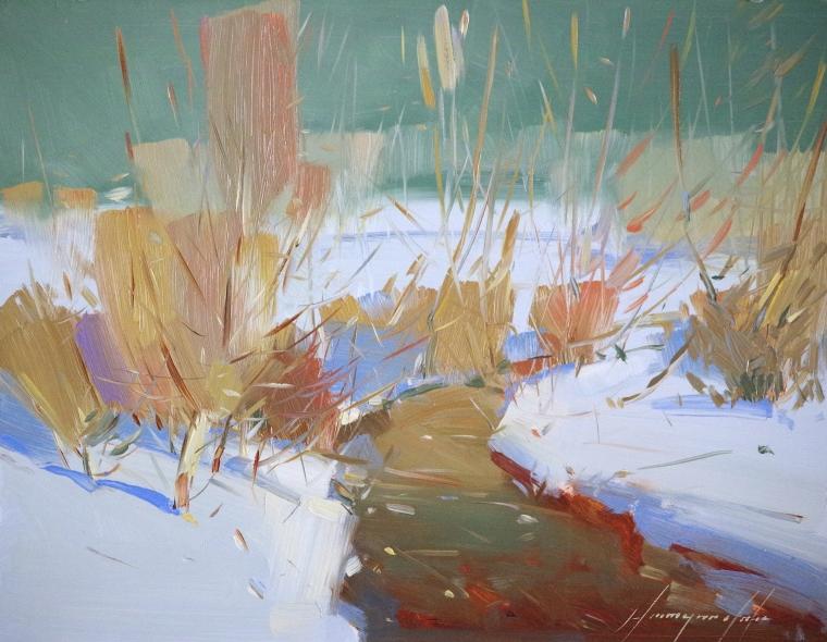 Cobalt Winter, Original oil Painting, Handmade art, One of a Kind, Signed
