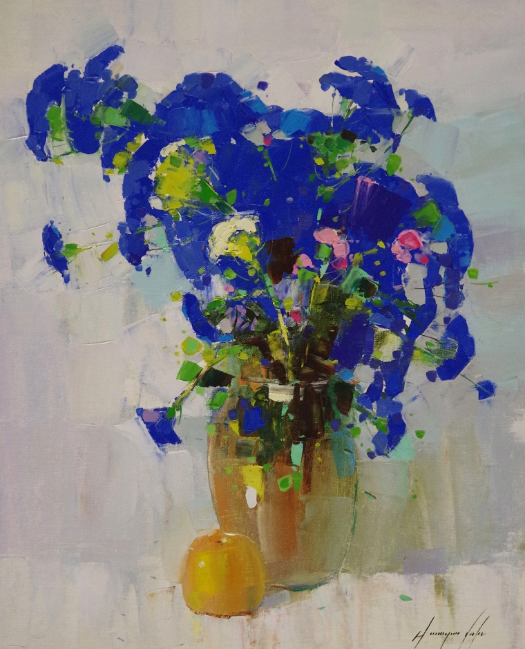 Vase of Blue Flowers, oil Painting, Original Handmade art, One of a Kind, Signed