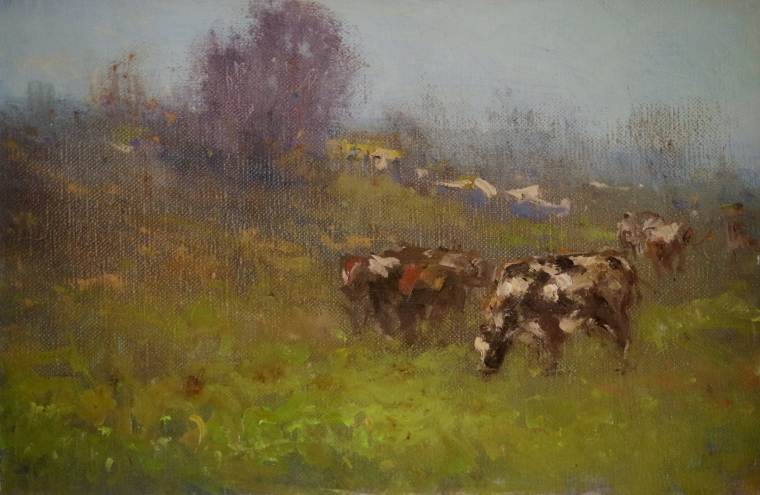 Cows in the Meadow, Landscape Original oil Painting on Canvas, Handmade art, One of a Kind, Signed