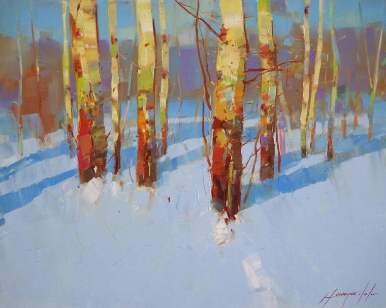 Winter, Landscape Original oil Painting, Handmade art, One of a Kind, Signed
