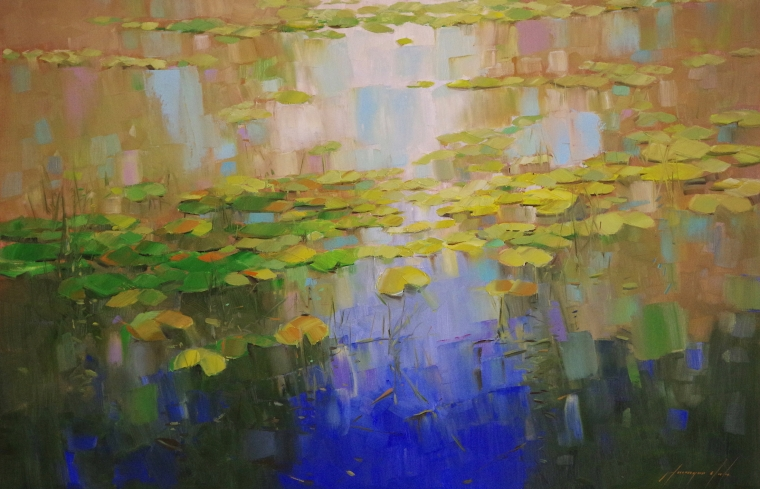 Waterlilies Garden, oil Painting, Original Handmade art, One of a Kind, Signed
