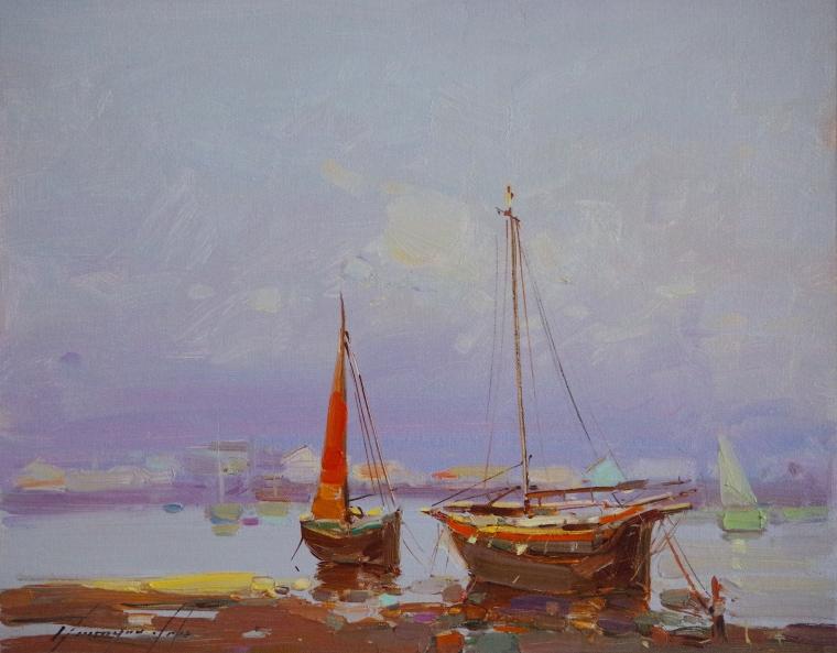 Seashore, Original oil Painting, Handmade art, One of a Kind