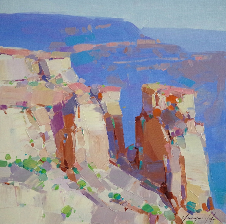 Grand Canyon -Sunny Day, Landscape Original oil Painting, Handmade art, One of a Kind, Signed