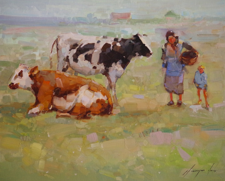 Cows in the Meadow, Original oil Painting, Handmade art, Signed