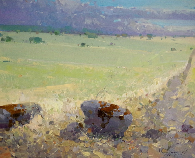 Meadow, Landscape Original oil Painting, Handmade art, One of a Kind, Signed