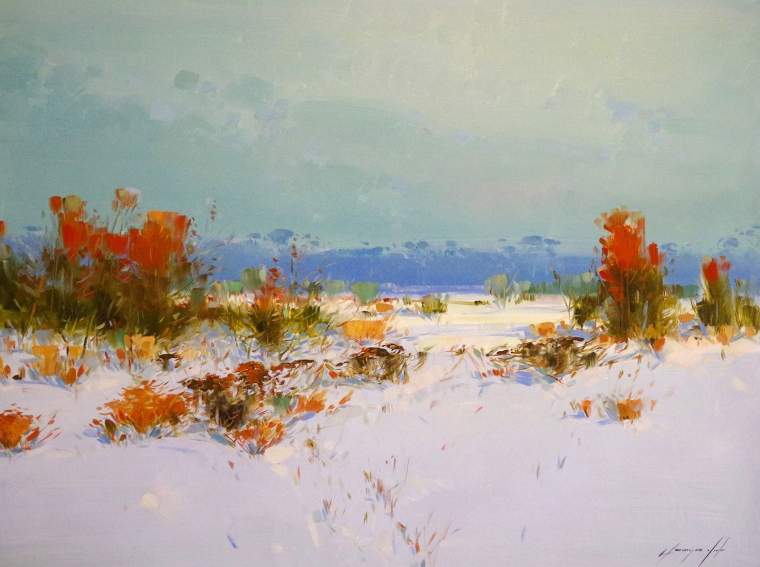 Winter Day, Original oil Painting, Handmade art, One of a Kind
