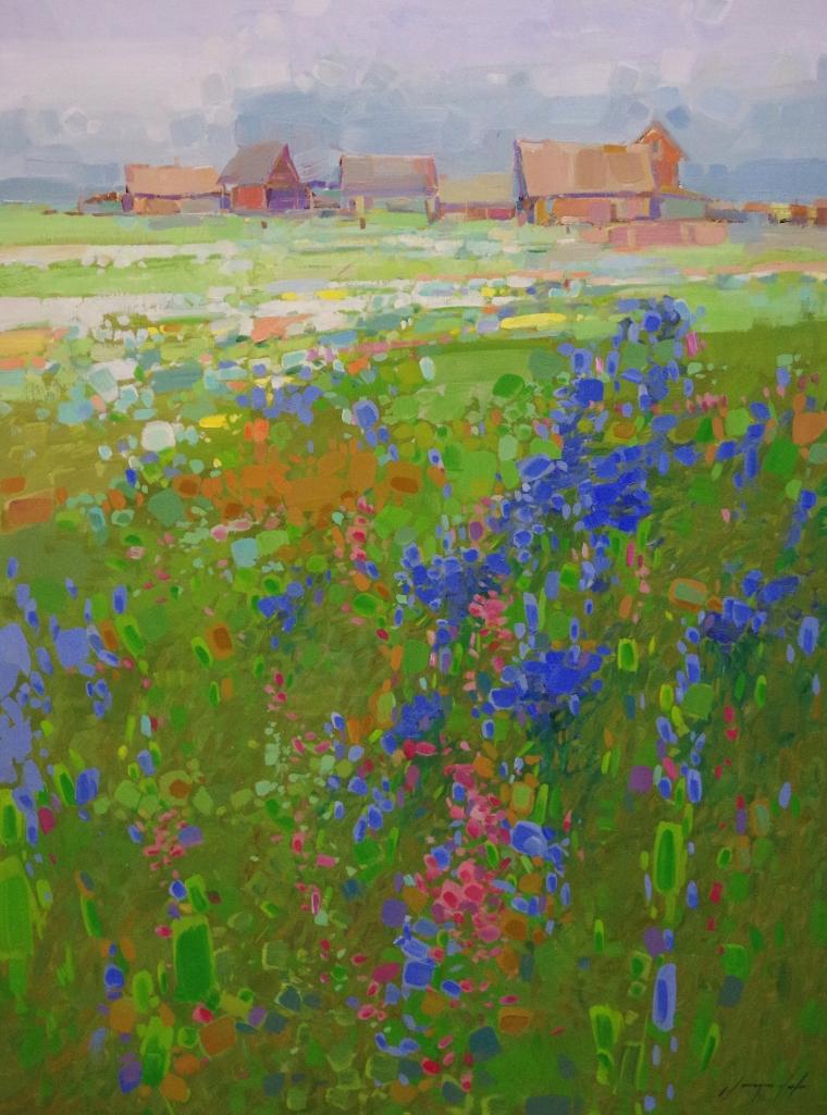 Summer Field, Original oil Painting, Handmade art, One of a Kind