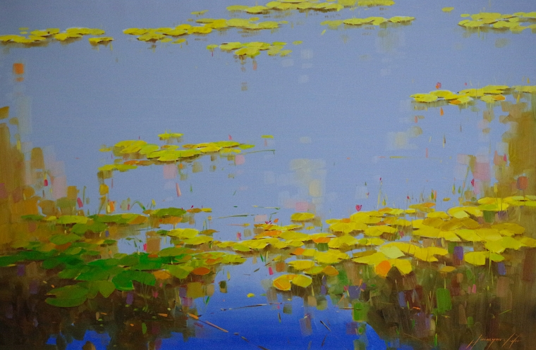 Waterlilies, Original oil Painting, Handmade artwork, One of a Kind, Signed