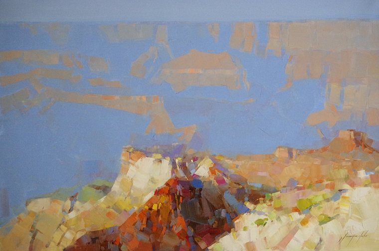 Grand Canyon, Original oil Painting by Palette knife, Handmade artwork, One of a Kind