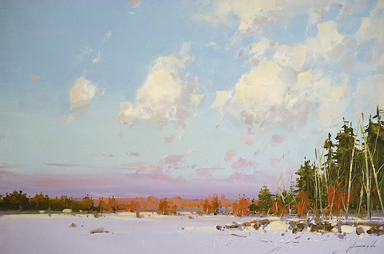 Winter in New Hampshire,  Original oil Painting, Handmade artwork, One of a Kind