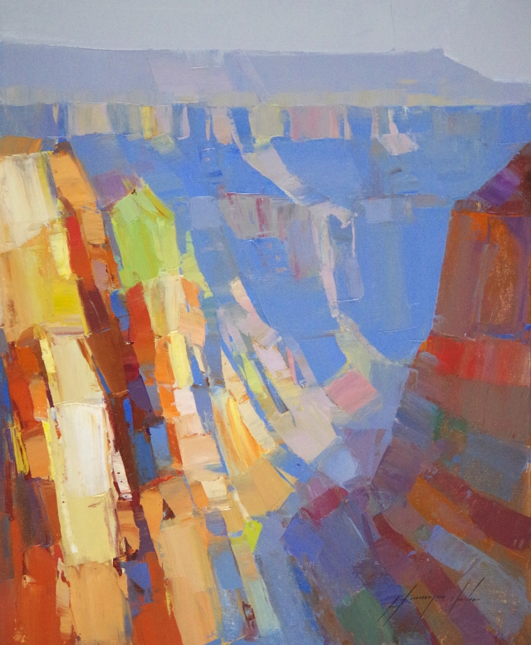 Grand Canyon Arizona, Original oil Painting by Palette Knife, Handmade art, One of a Kind