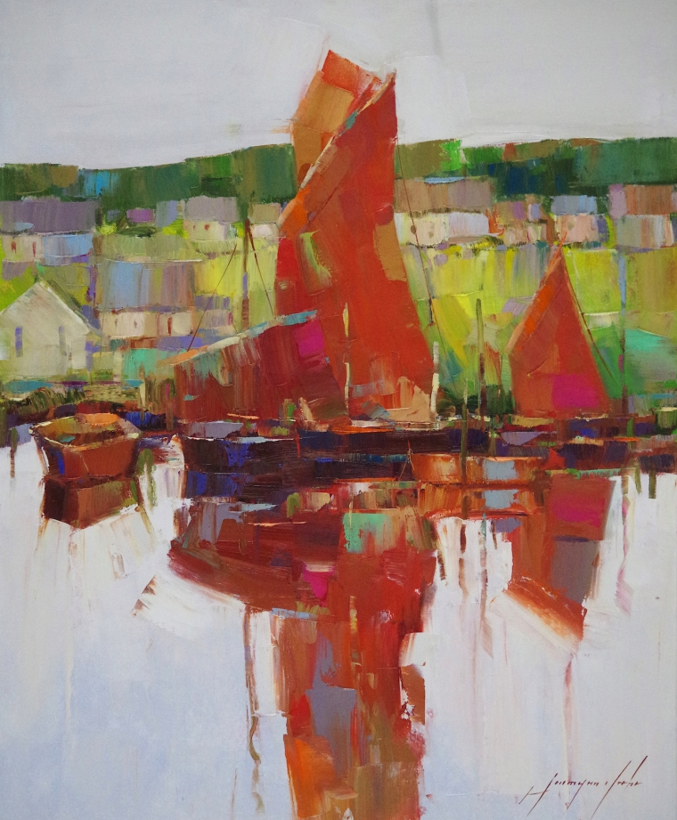 Sail Boats, Original oil Painting by Palette Knife, Handmade artwork, One of a Kind
