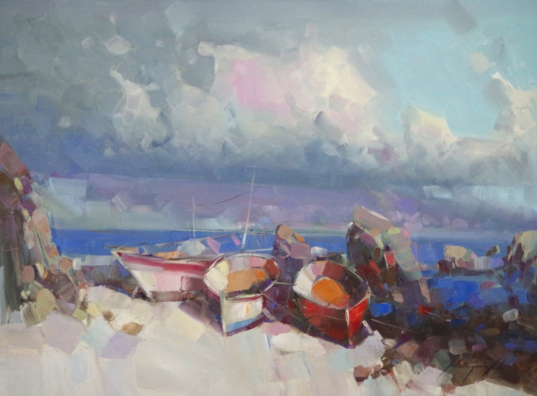 Boats on the Shore, Original oil Painting by Palette Knife, Handmade artwork