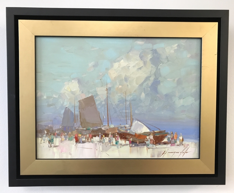 Harbor, Original oil Painting, Handmade artwork, Framed, Ready to Hang