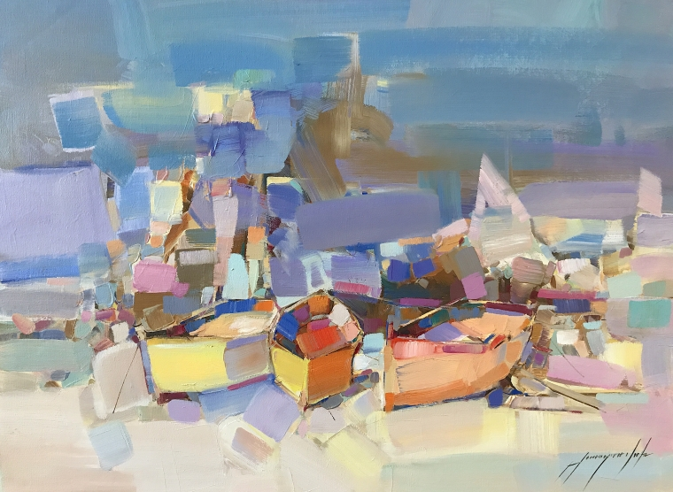 Boats, Abstract Original oil Painting, Handmade artwork, One of a Kind