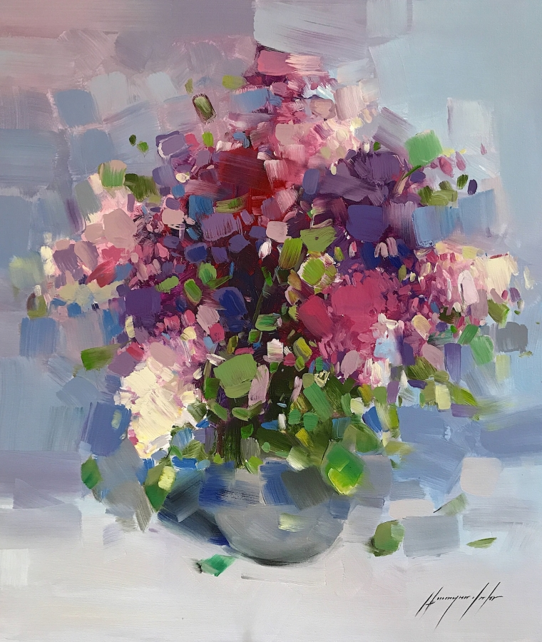 Vase of Lilacs, oil Painting, Handmade artwork, One of a Kind