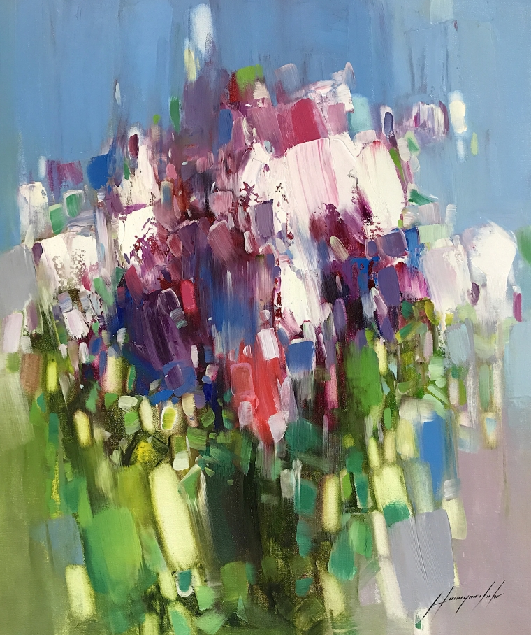 Lilacs, Abstract oil Painting, Handmade artwork, One of a Kind