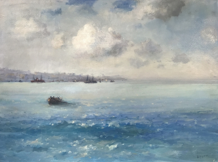 Cloudy Day, Seascape oil Painting, Museum Quality, One of a Kind