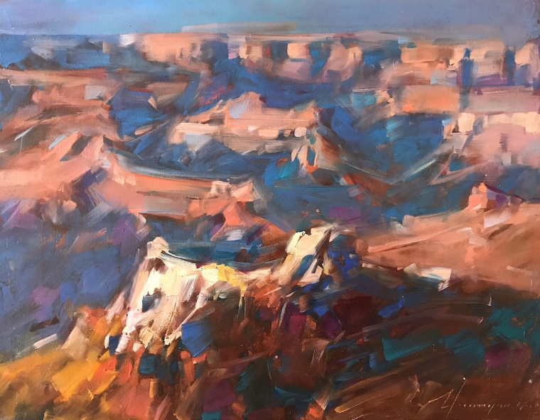 Grand canyon, Landscape oil Painting, Handmade artwork, One of a Kind
