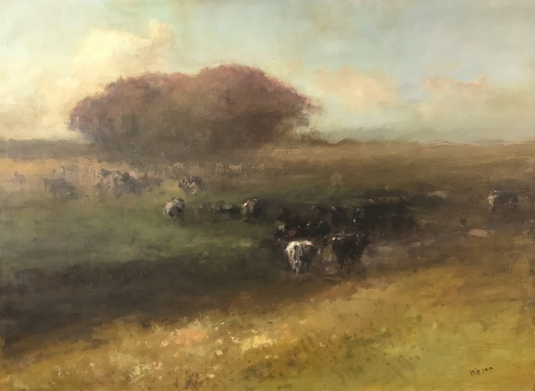 Cows in the Meadow, Landscape Original oil Painting, Museum Quality, One of a Kind