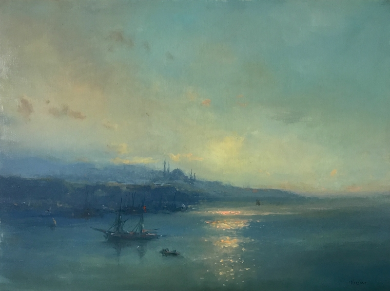 Istanbul Harbor, Original oil Painting, Museum Quality, One of a Kind