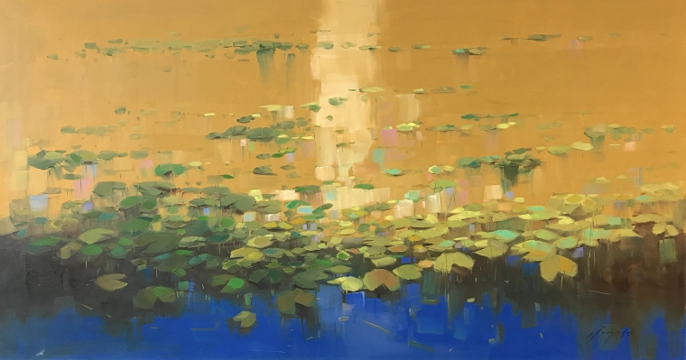 Waterlilies Autumn Palette, Original oil Painting, Handmade artwork, Ready to hang