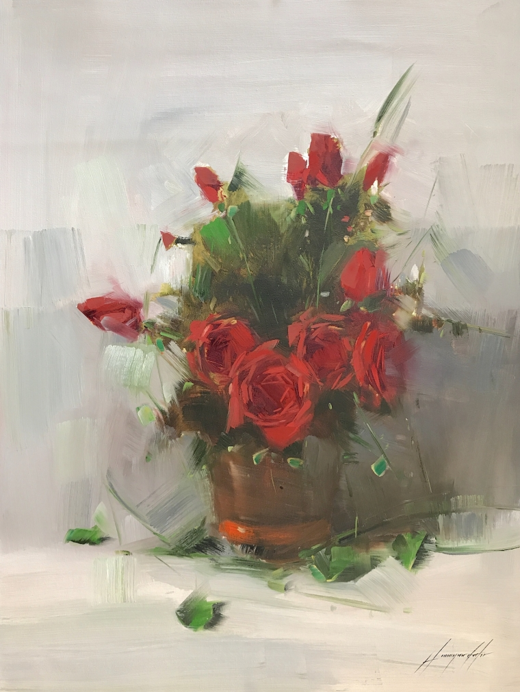 Vase of Roses, Oil Painting, Handmade artwork, One of a Kind