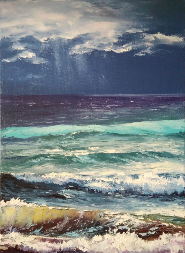 Oil Painting on canvas. Seascape.
