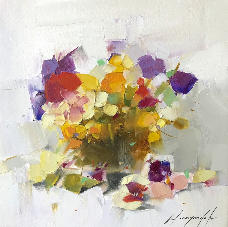Pansies, Original oil Painting, Handmade artwork, Ready to hang