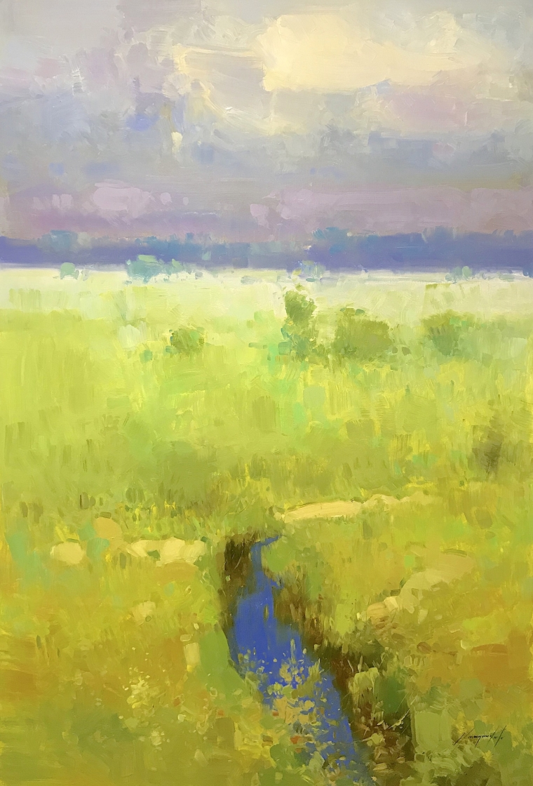 Summer Field, Original oil Painting, Handmade artwork, Ready to hang