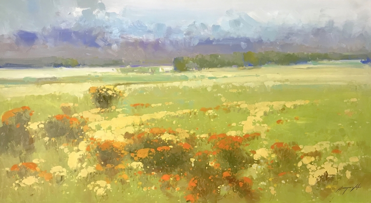 Meadow, Original oil Painting, Handmade artwork, Ready to hang