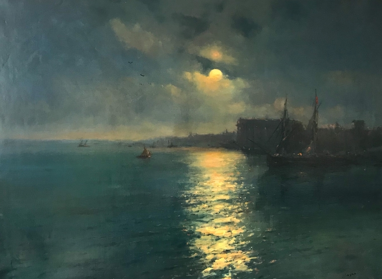 Moonlight Seascape Original Oil Painting Museum Quality