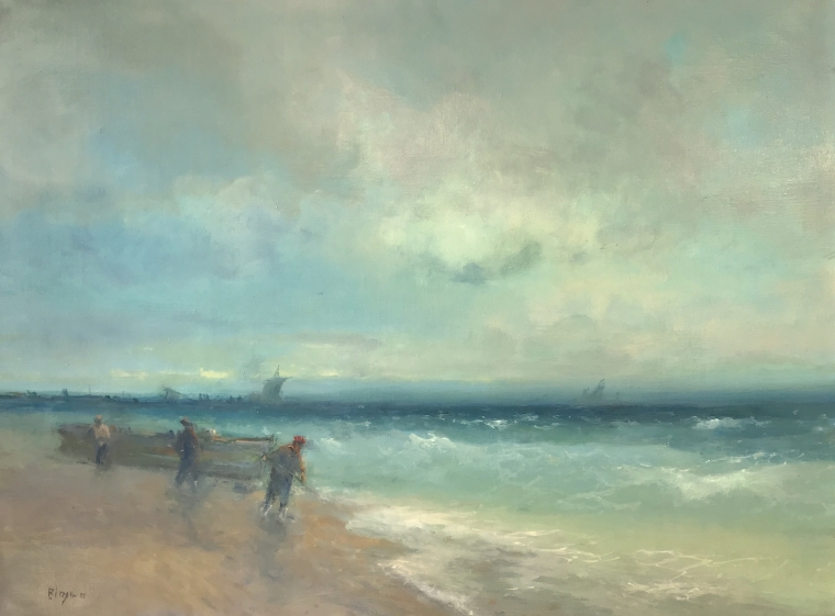 Fish-Mans, Seascape Original oil Painting, Museum Quality, One of a Kind