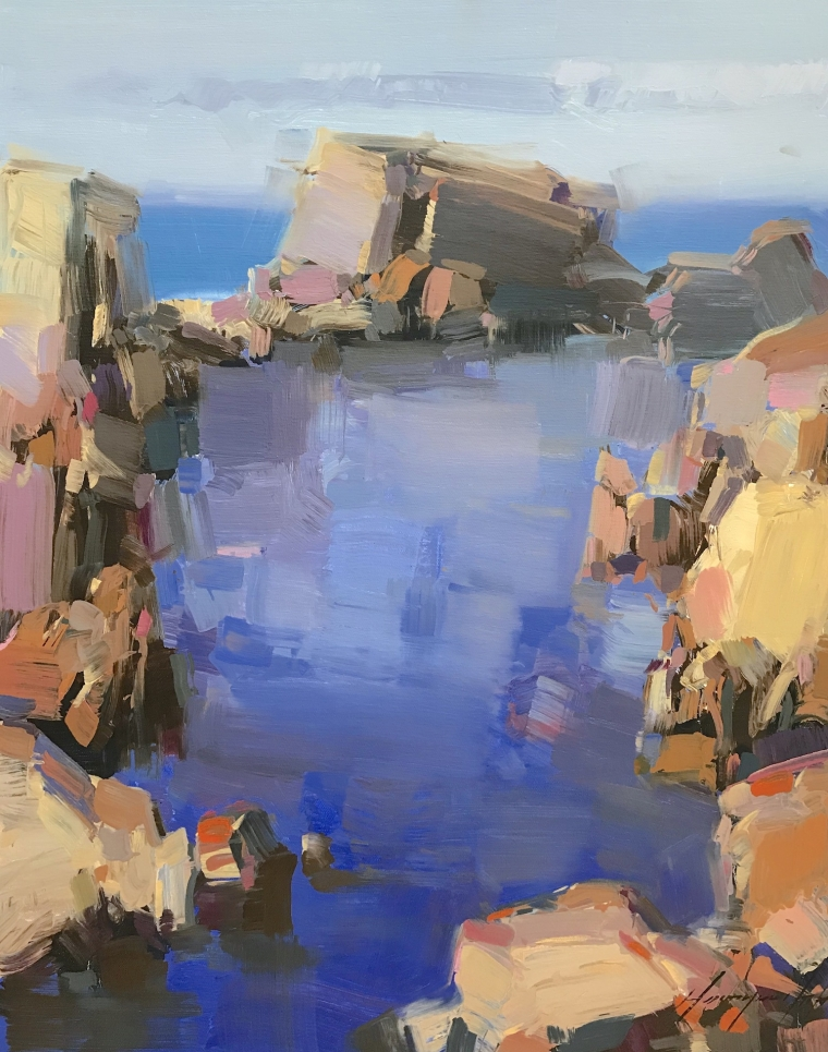 Cliffs, Pacific Highway, Original oil Painting, Handmade artwork, Ready to hang
