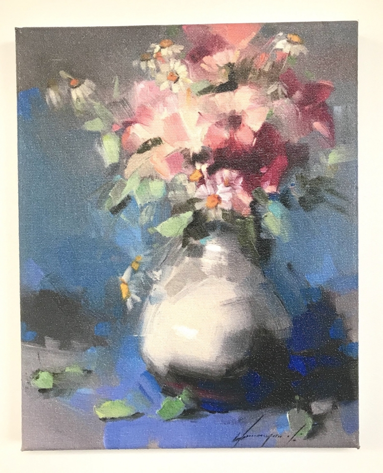 Vase of Flowers, Giggle Print on Canvas, Ready to hang