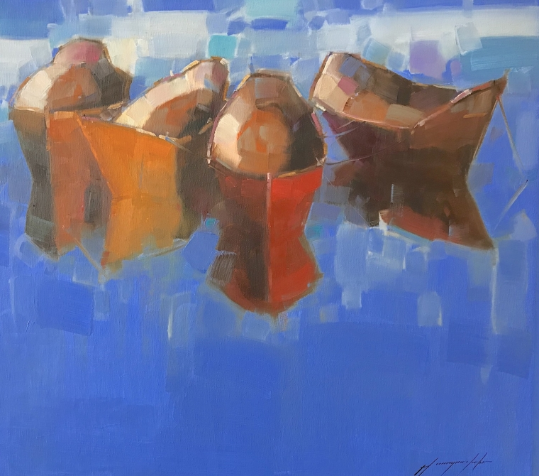 Rowboats, Original oil Painting, Handmade artwork, One of a Kind